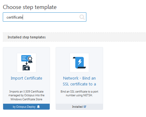 Import certificate step