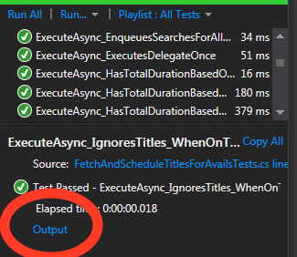 test output